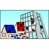 通学路の安全チェック(屋根の瓦やビルの窓ガラス)