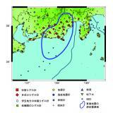 東海地震の想定震源域と地震および地殻変動観測網