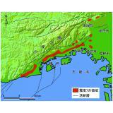 平成7年兵庫県南部地震の際に見られた震災の帯