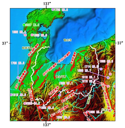 富山県とその周辺の主な被害地震