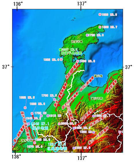石川県とその周辺の主な被害地震