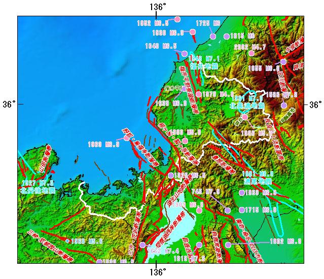 福井県とその周辺の主な被害地震