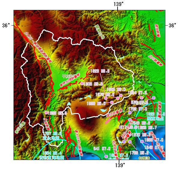 山梨県とその周辺の主な被害地震