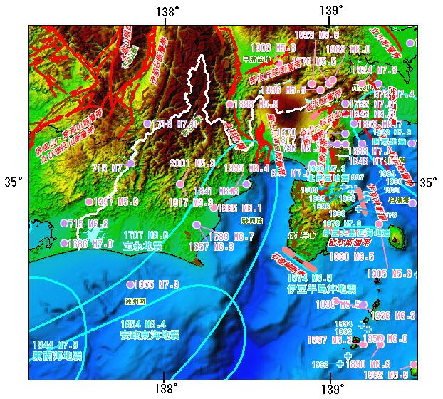 静岡県とその周辺の主な被害地震