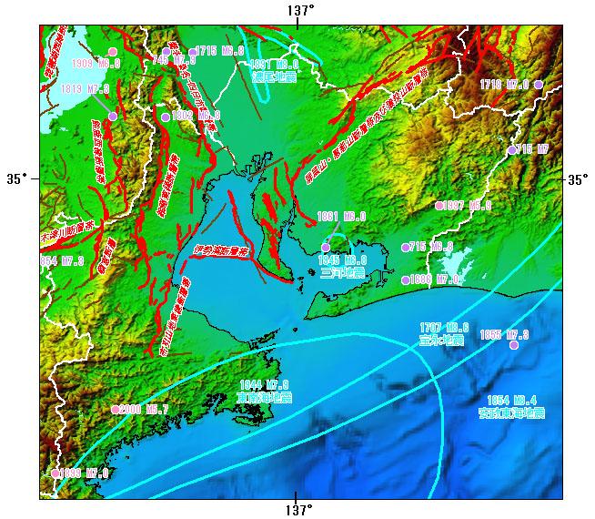 愛知県とその周辺の主な被害地震