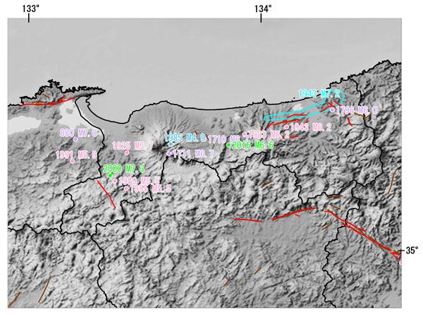 鳥取県とその周辺の主な被害地震