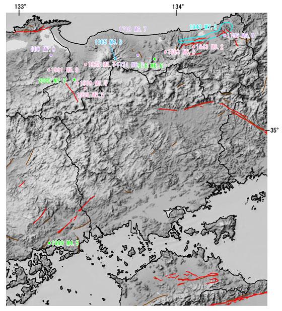 岡山県とその周辺の主な被害地震