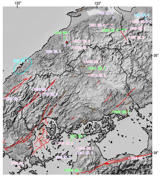 広島県とその周辺の主な被害地震