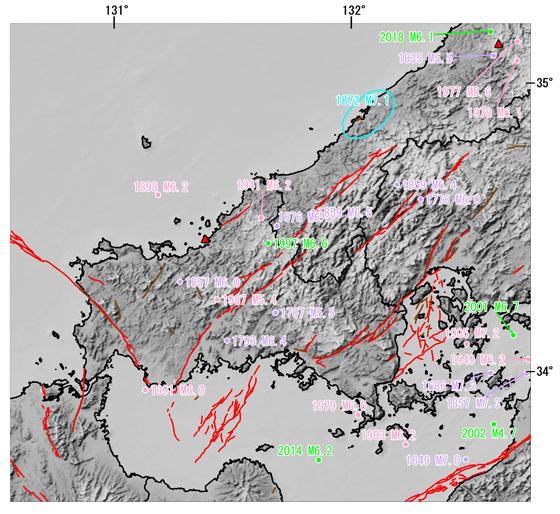 山口県とその周辺の主な被害地震