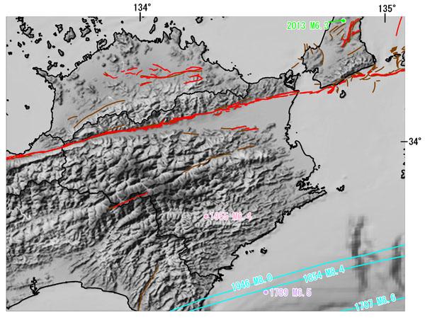 徳島県とその周辺の主な被害地震