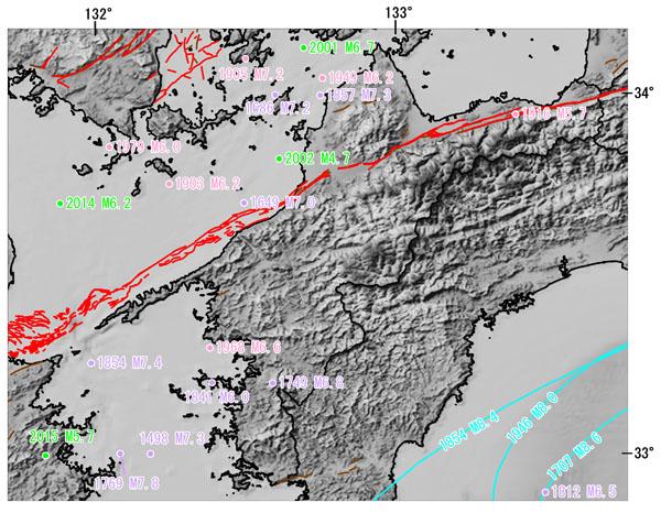 愛媛県とその周辺の主な被害地震