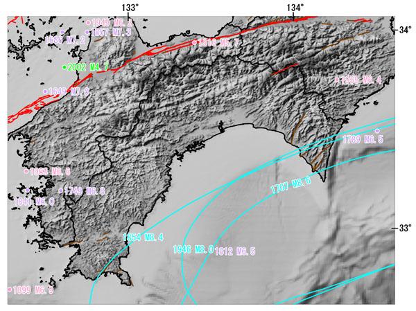 高知県とその周辺の主な被害地震