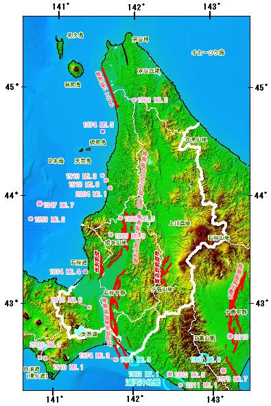 北海道中部地域とその周辺の主な被害地震