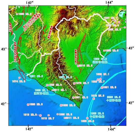 日高・十勝地方とその周辺の主な被害地震