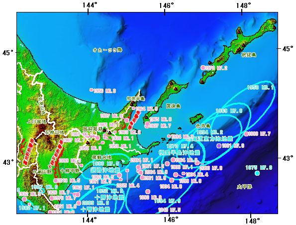 北海道東部地域とその周辺の主な被害地震