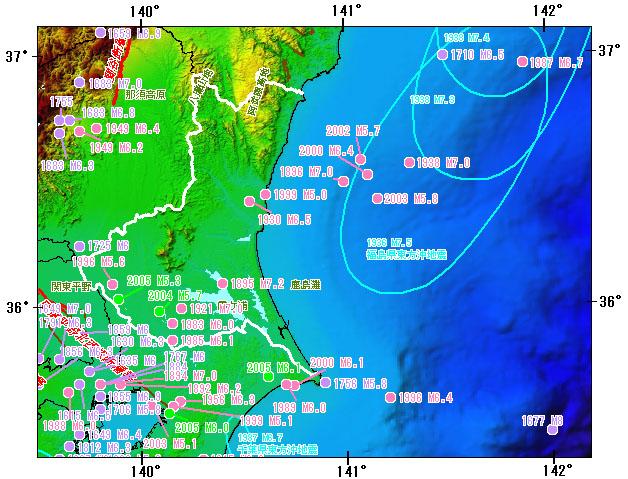 茨城県とその周辺の主な被害地震