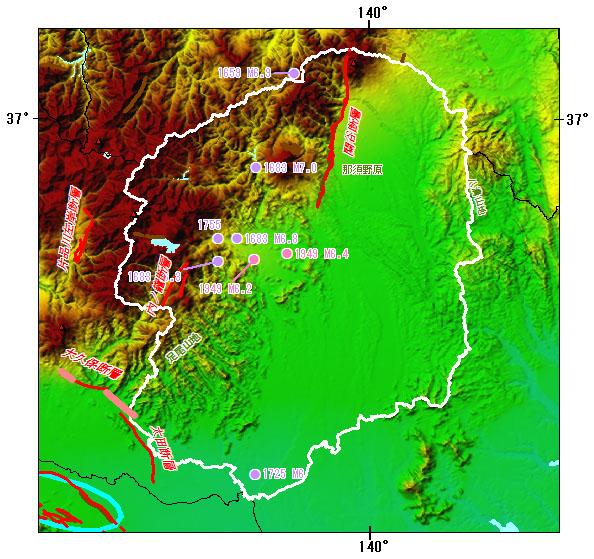 栃木県とその周辺の主な被害地震