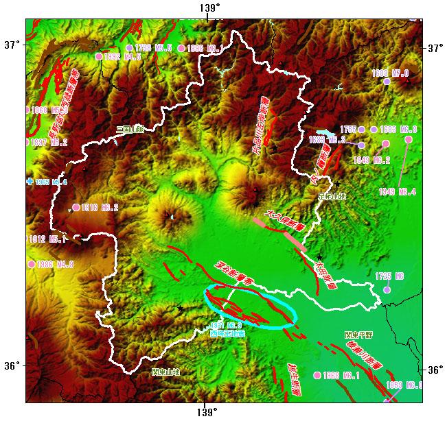 群馬県とその周辺の主な被害地震