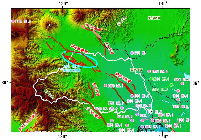 埼玉県とその周辺の主な被害地震