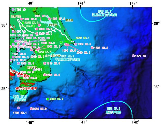 千葉県とその周辺の主な被害地震