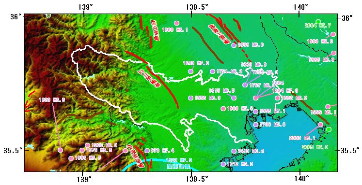 東京都(伊豆諸島及び小笠原諸島を除く)とその周辺の主な被害地震
