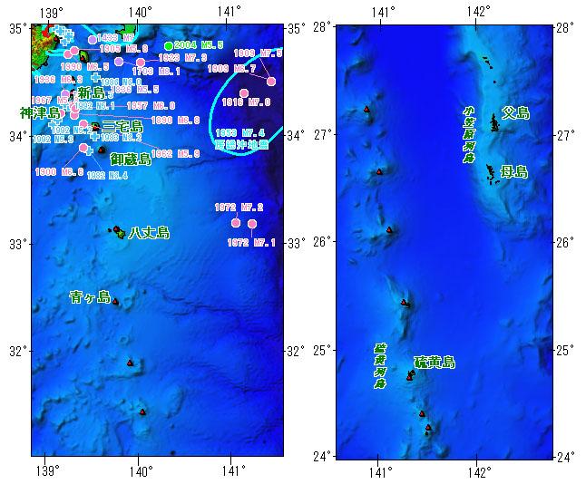 伊豆諸島及び小笠原諸島とその周辺の主な被害地震