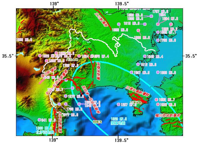 神奈川県とその周辺の主な被害地震