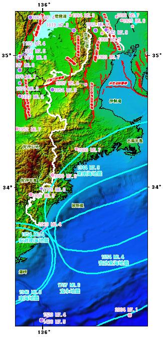 三重県とその周辺の主な被害地震