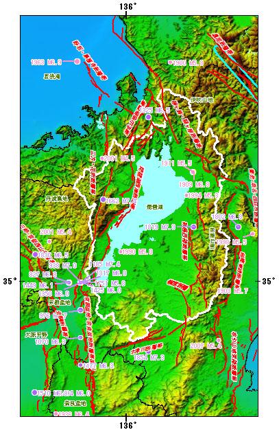 滋賀県とその周辺の主な被害地震