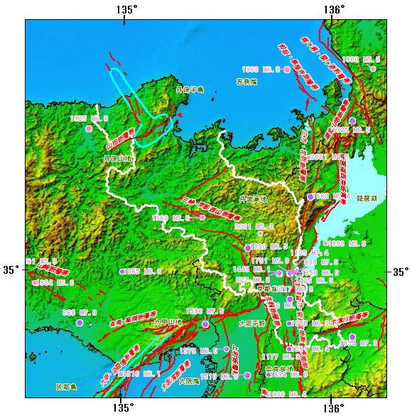 京都府とその周辺の主な被害地震