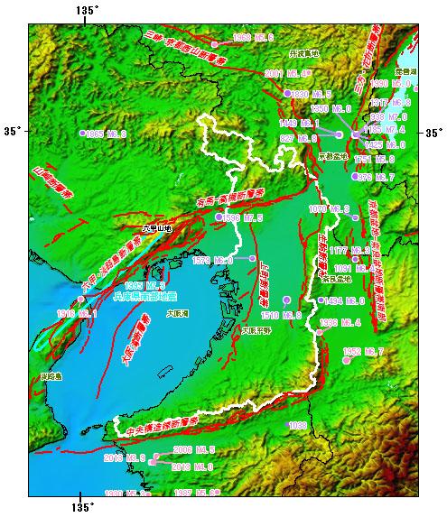 大阪府とその周辺の主な被害地震