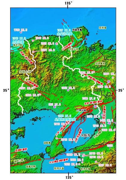 兵庫県とその周辺の主な被害地震