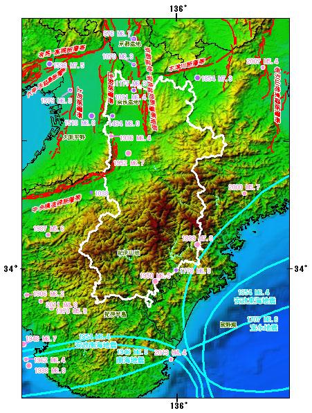 奈良県とその周辺の主な被害地震