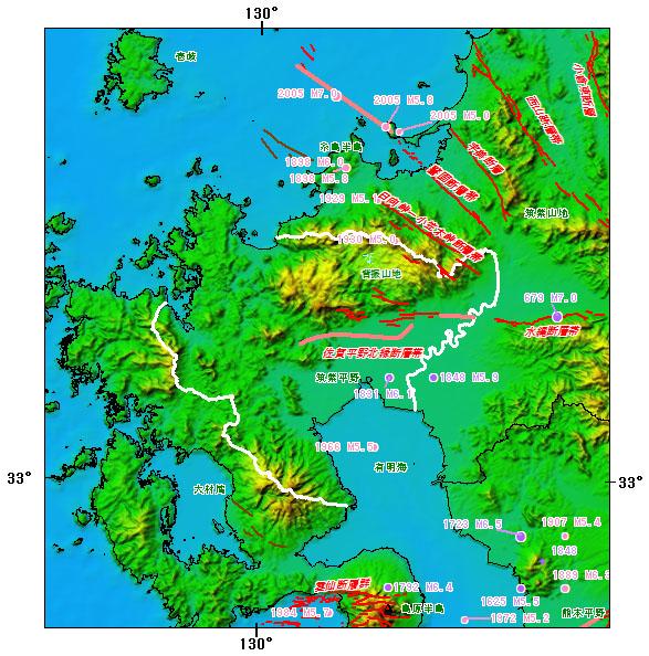 佐賀県とその周辺の主な被害地震