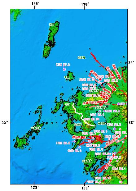 長崎県とその周辺の主な被害地震