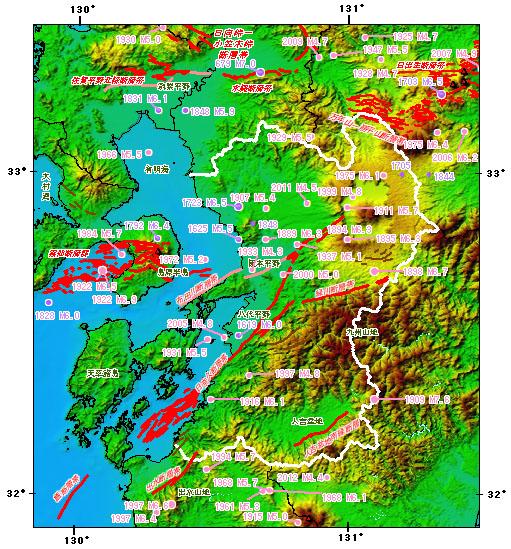 熊本県とその周辺の主な被害地震