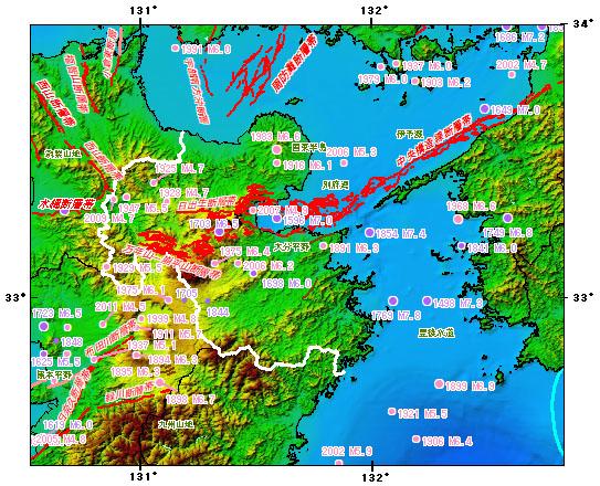 大分県とその周辺の主な被害地震