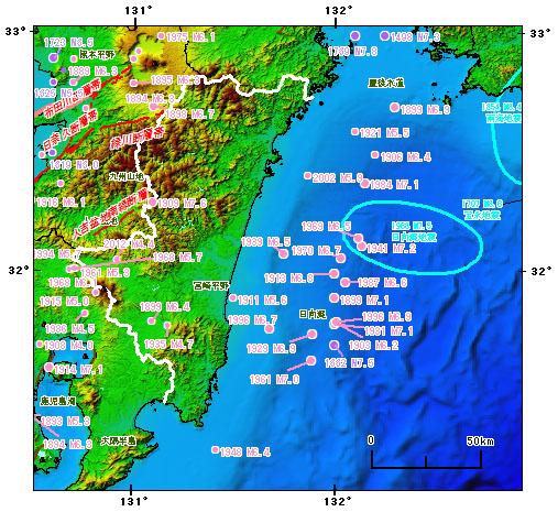 宮崎県とその周辺の主な被害地震