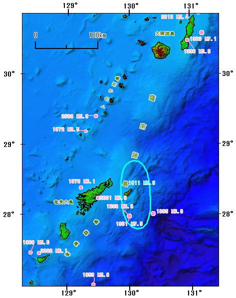 薩南諸島とその周辺の主な被害地震