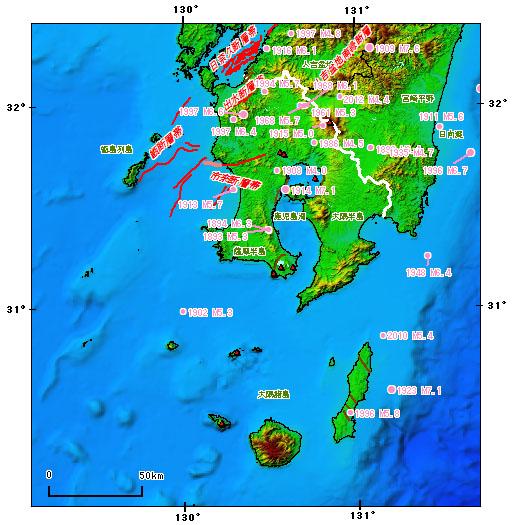 鹿児島県とその周辺の主な被害地震