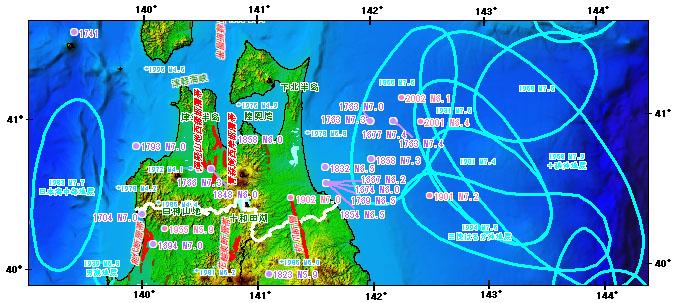 青森県とその周辺の主な被害地震
