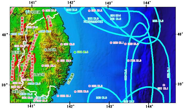 岩手県とその周辺の主な被害地震
