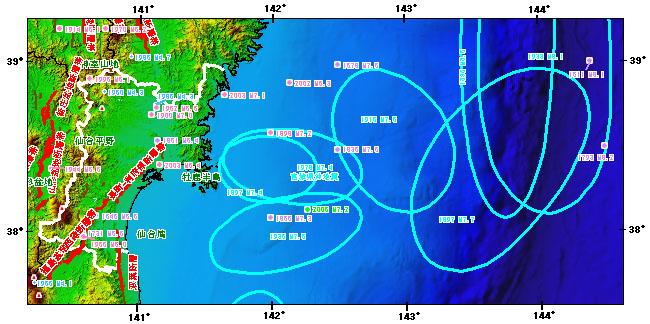 宮城県とその周辺の主な被害地震