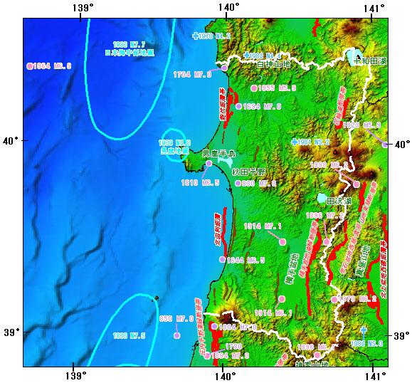 秋田県とその周辺の主な被害地震