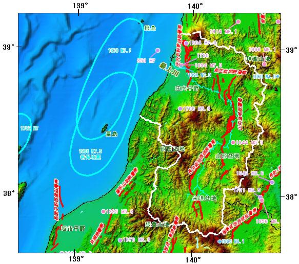 山形県とその周辺の主な被害地震