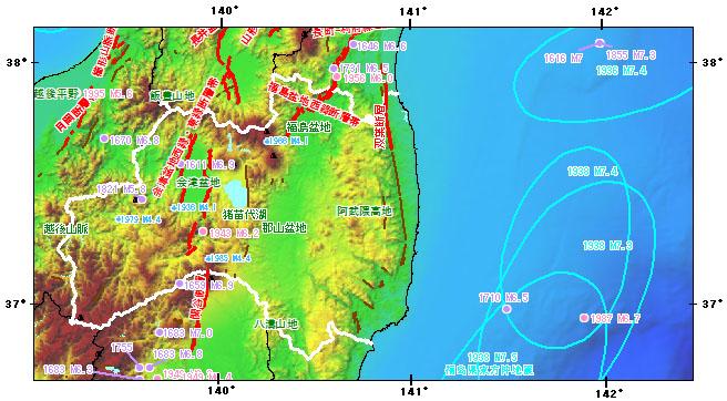 福島県とその周辺の主な被害地震